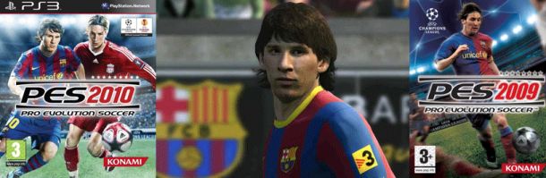 Messi en los juegos de Pro Evolution Soccer 2009 y 2010 para la Playstation 3 PS3